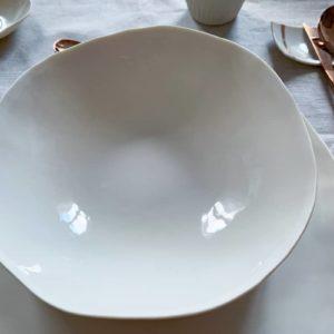 Service complet de vaisselle italienne design en porcelaine blanche - assiette creuse