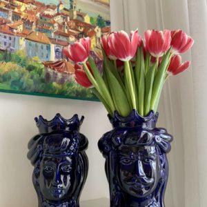 Têtes de maure siciliennes en céramique modele Normand - bleu