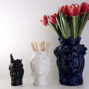 Têtes de maure siciliennes en céramique modele Normand - noir, blanc, bleue