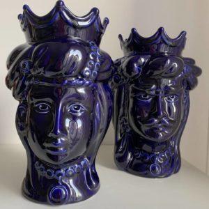 Têtes de maure siciliennes en céramique modele Normand - bleue