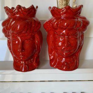Têtes de maure siciliennes en céramique modele Normand - rouge